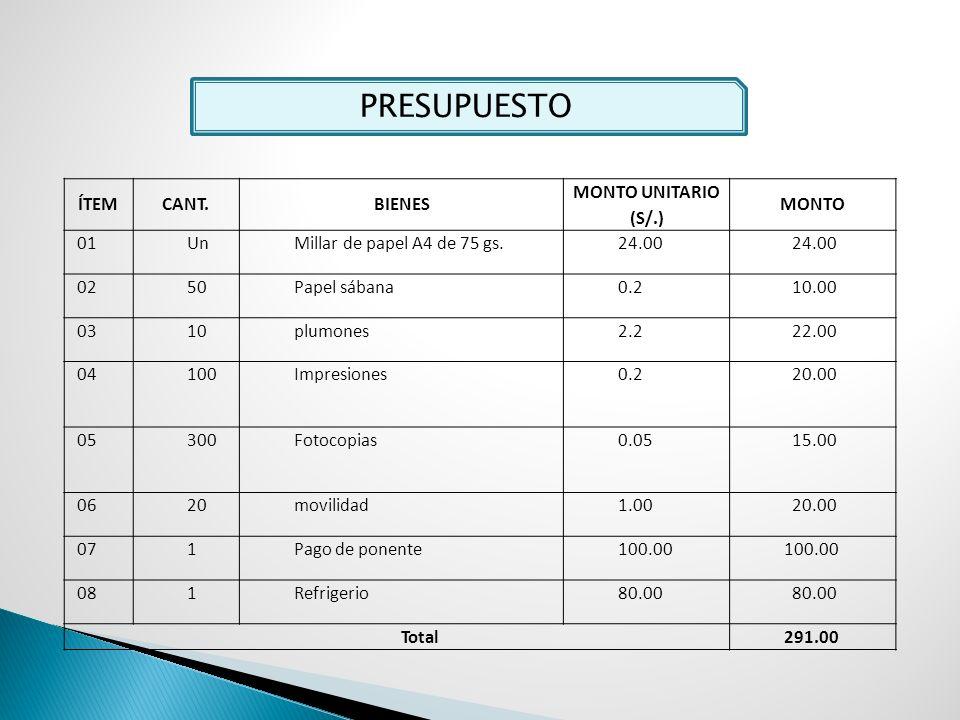 PRESUPUESTO ÍTEM CANT. BIENES MONTO UNITARIO (S/.) MONTO 01 Un