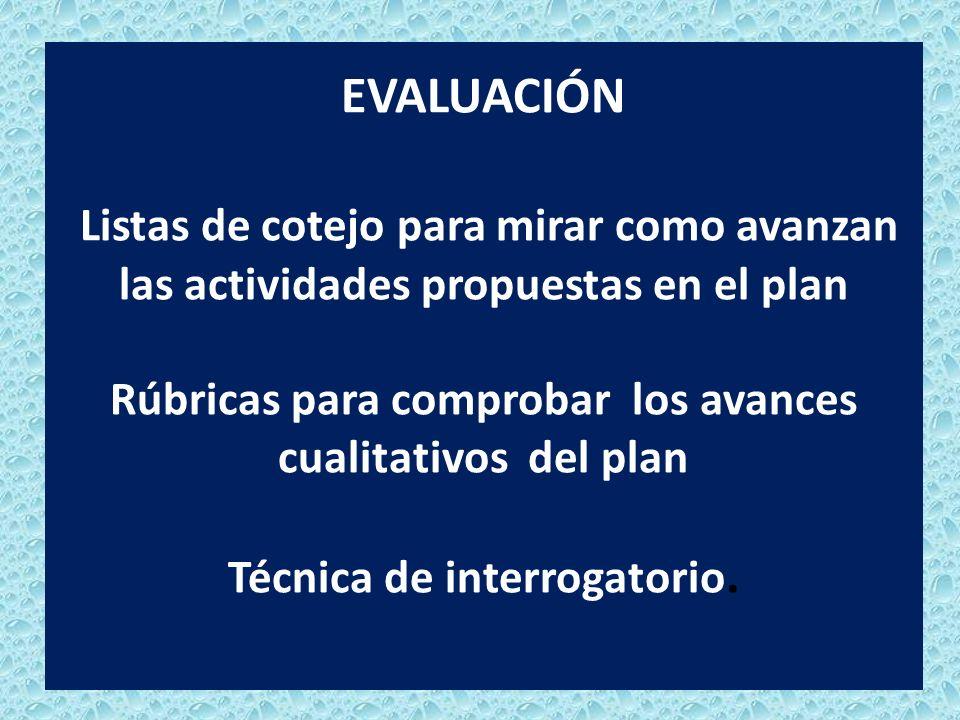 EVALUACIÓN Listas de cotejo para mirar como avanzan las actividades propuestas en el plan Rúbricas para comprobar los avances cualitativos del plan Técnica de interrogatorio.