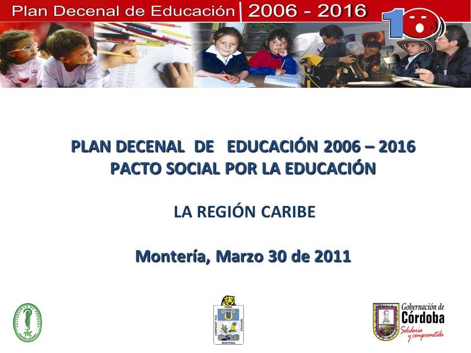 PLAN DECENAL DE EDUCACIÓN 2006 – 2016 PACTO SOCIAL POR LA EDUCACIÓN