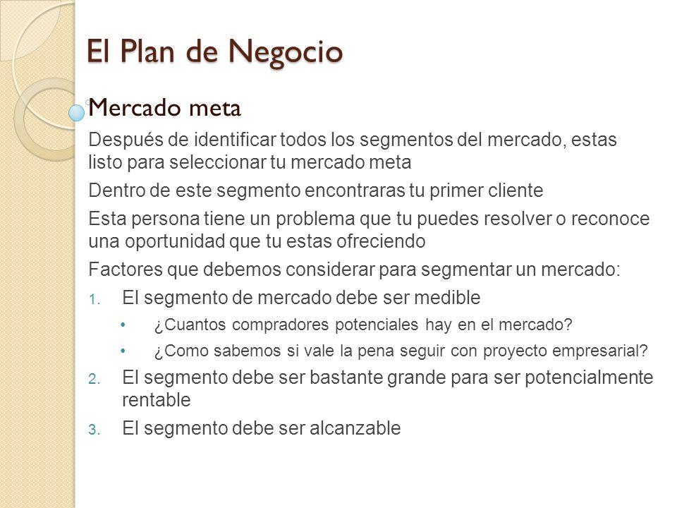El Plan de Negocio Mercado meta
