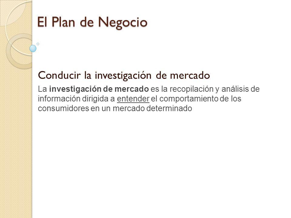 El Plan de Negocio Conducir la investigación de mercado