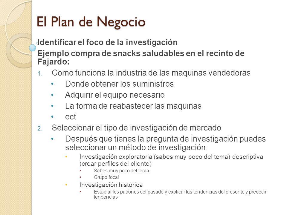 El Plan de Negocio Identificar el foco de la investigación