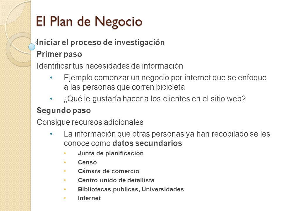 El Plan de Negocio Iniciar el proceso de investigación Primer paso
