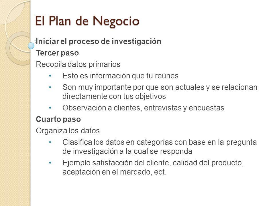 El Plan de Negocio Iniciar el proceso de investigación Tercer paso