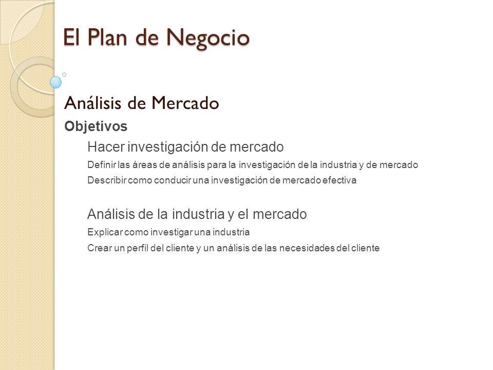 El Plan de Negocio Análisis de Mercado Objetivos