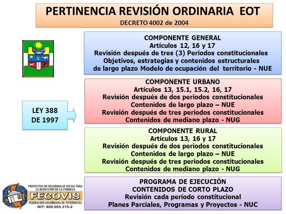 PERTINENCIA REVISIÓN ORDINARIA EOT