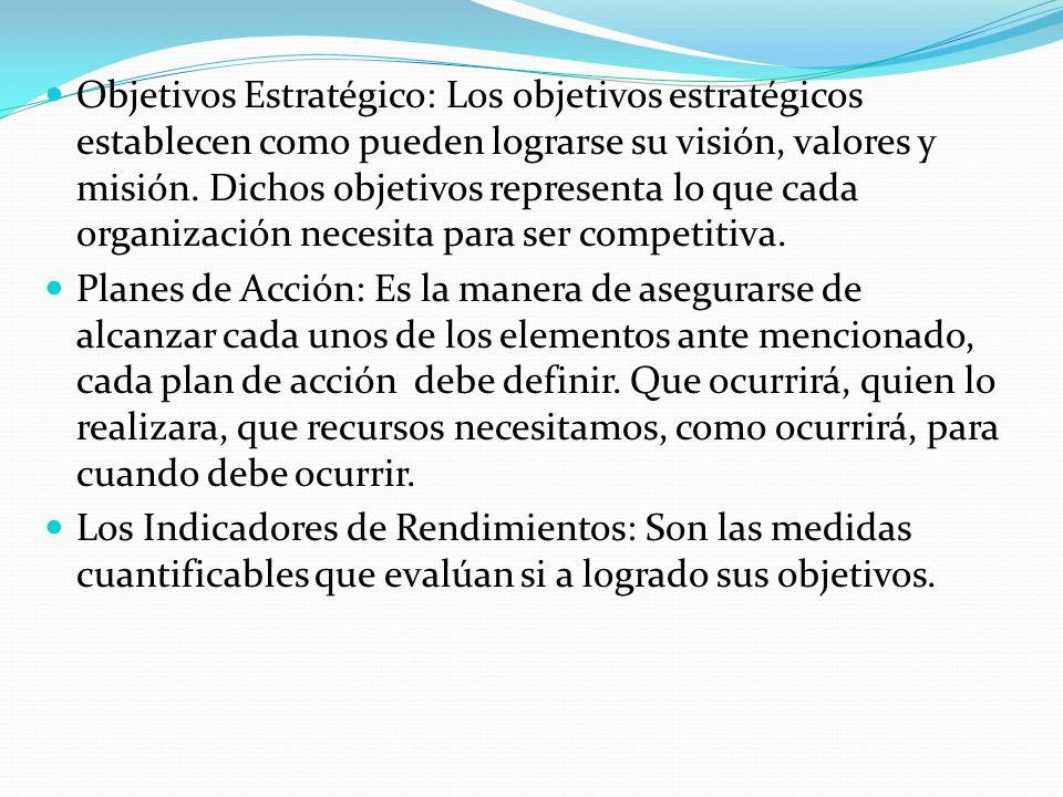 Objetivos Estratégico: Los objetivos estratégicos establecen como pueden lograrse su visión, valores y misión. Dichos objetivos representa lo que cada organización necesita para ser competitiva.
