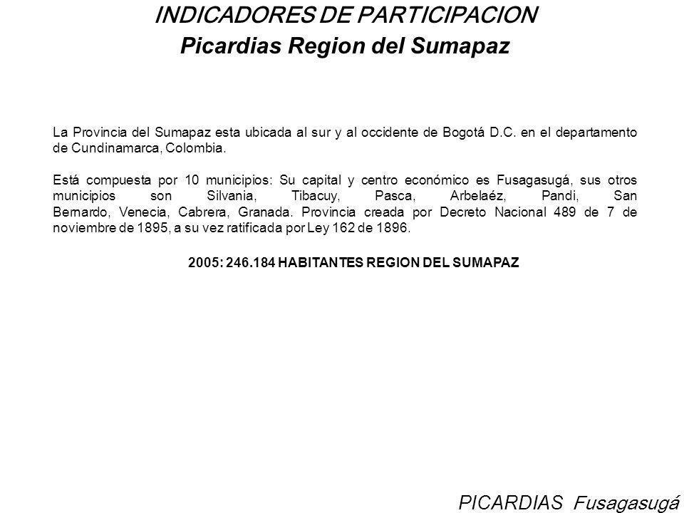 INDICADORES DE PARTICIPACION Picardias Region del Sumapaz