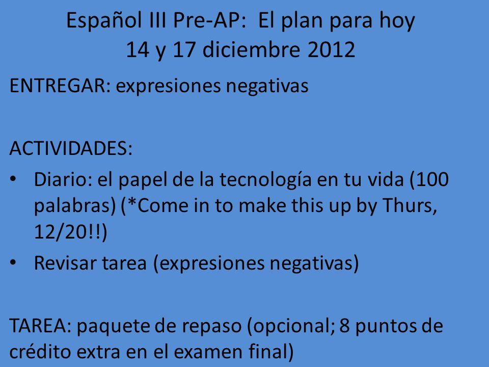 Español III Pre-AP: El plan para hoy 14 y 17 diciembre 2012