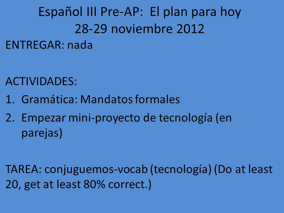 Español III Pre-AP: El plan para hoy 28-29 noviembre 2012