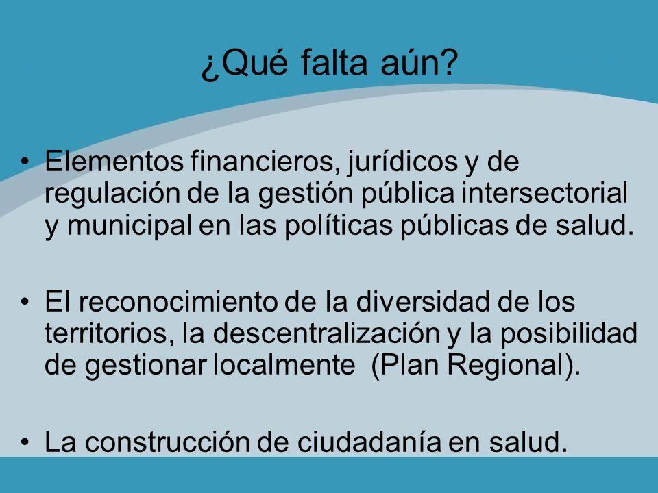 ¿Qué falta aún Elementos financieros, jurídicos y de regulación de la gestión pública intersectorial y municipal en las políticas públicas de salud.