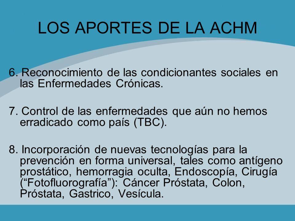LOS APORTES DE LA ACHM 6. Reconocimiento de las condicionantes sociales en las Enfermedades Crónicas.