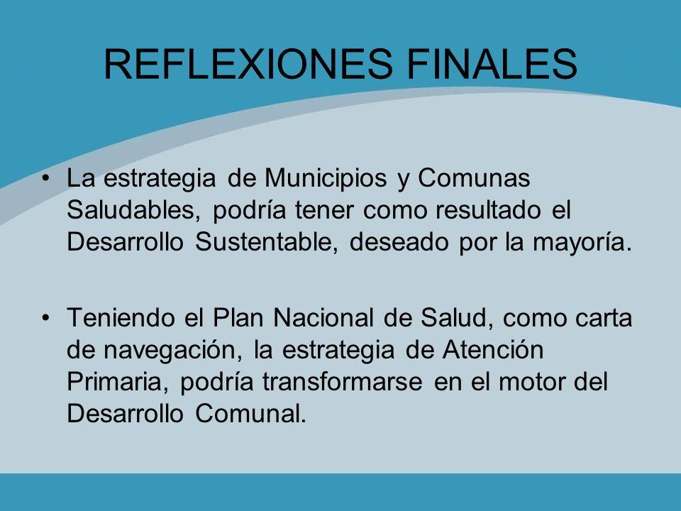 REFLEXIONES FINALES La estrategia de Municipios y Comunas Saludables, podría tener como resultado el Desarrollo Sustentable, deseado por la mayoría.