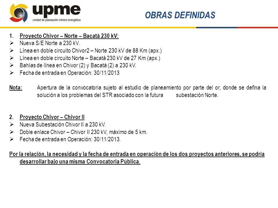 OBRAS DEFINIDAS Proyecto Chivor – Norte – Bacatá 230 kV: