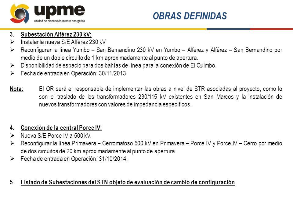 OBRAS DEFINIDAS Subestación Alférez 230 kV:
