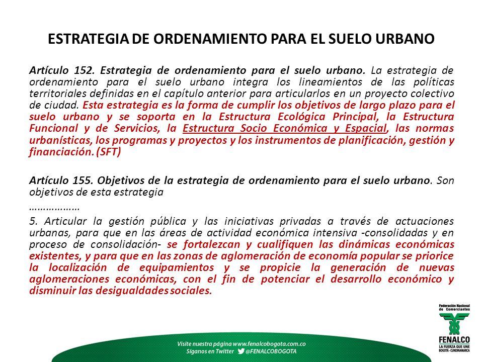 ESTRATEGIA DE ORDENAMIENTO PARA EL SUELO URBANO