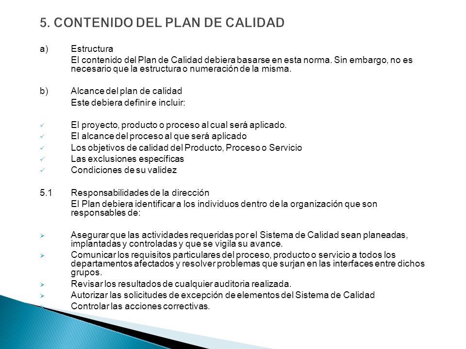 5. CONTENIDO DEL PLAN DE CALIDAD