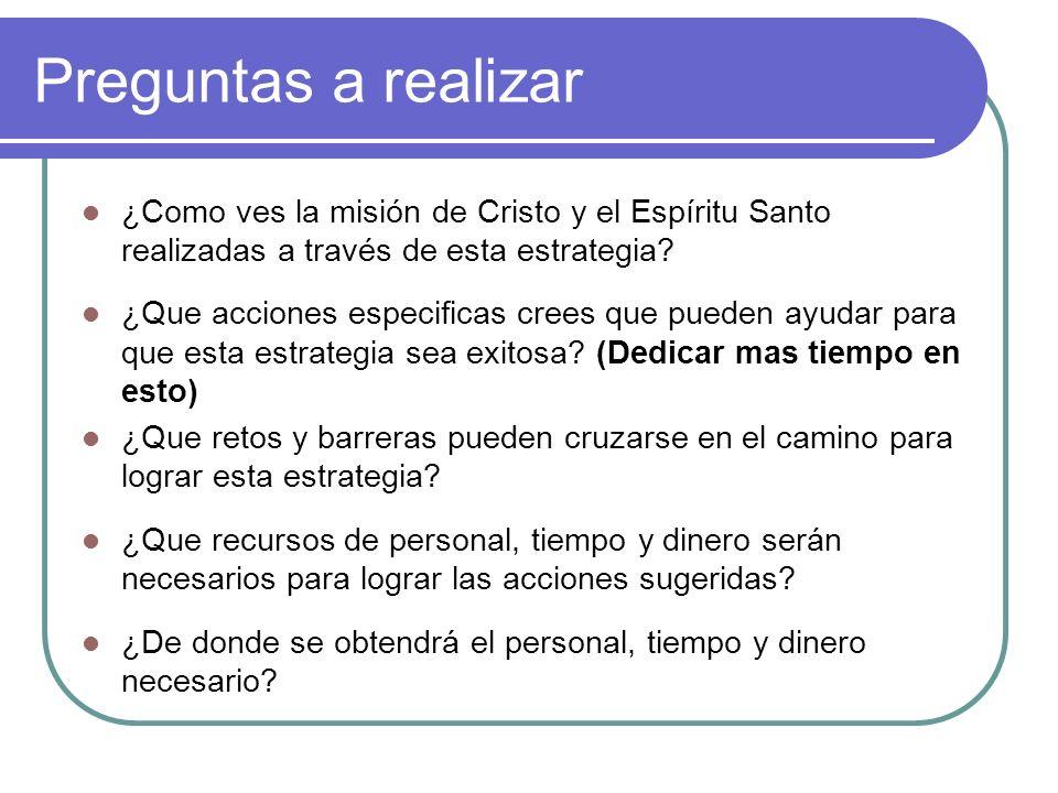 Preguntas a realizar ¿Como ves la misión de Cristo y el Espíritu Santo realizadas a través de esta estrategia