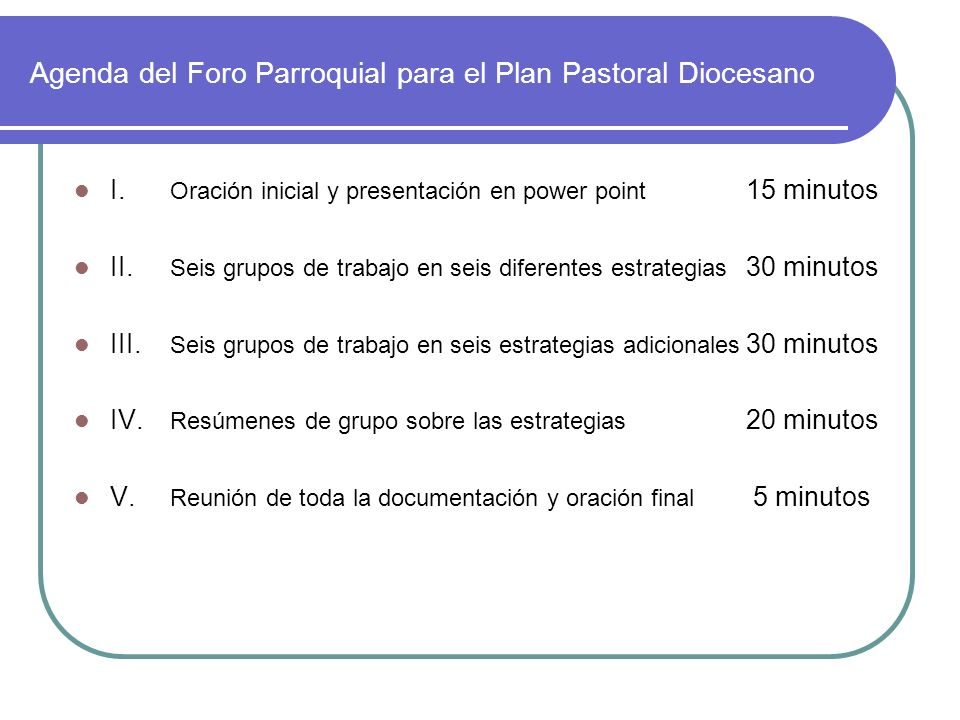 Agenda del Foro Parroquial para el Plan Pastoral Diocesano