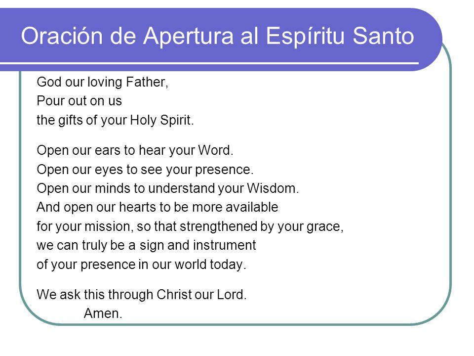 Oración de Apertura al Espíritu Santo
