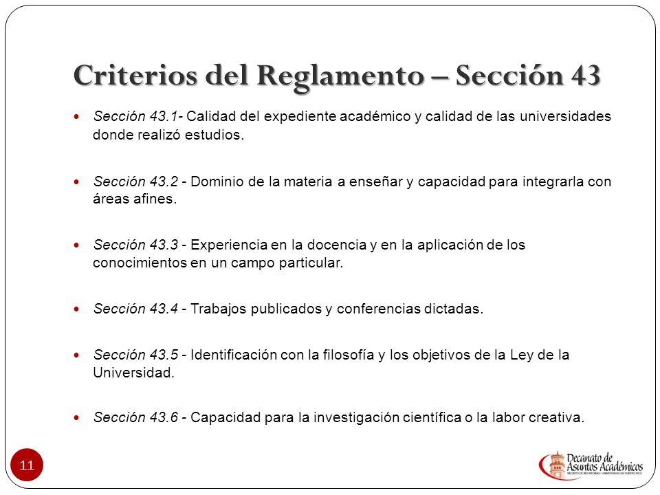 Criterios del Reglamento – Sección 43