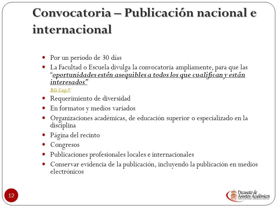 Convocatoria – Publicación nacional e internacional