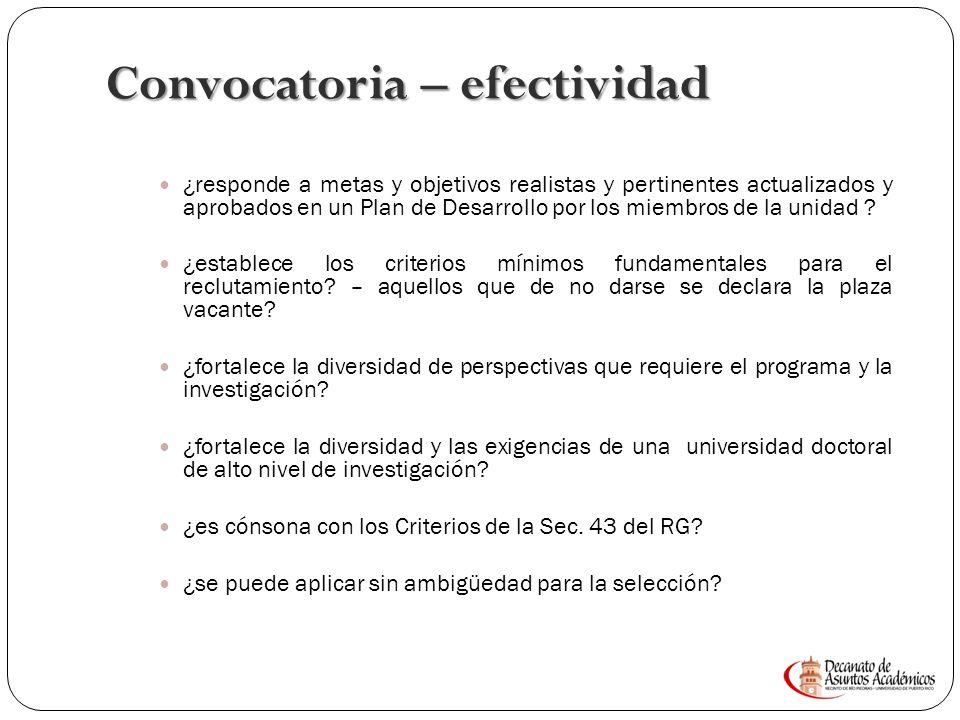 Convocatoria – efectividad