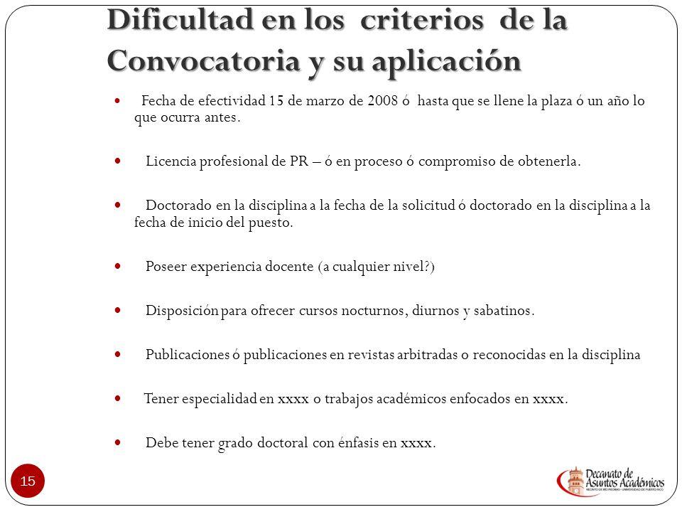Dificultad en los criterios de la Convocatoria y su aplicación