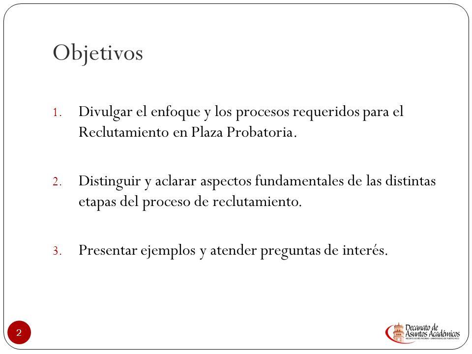 Objetivos Divulgar el enfoque y los procesos requeridos para el Reclutamiento en Plaza Probatoria.