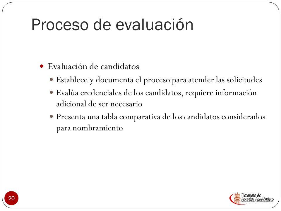 Proceso de evaluación Evaluación de candidatos
