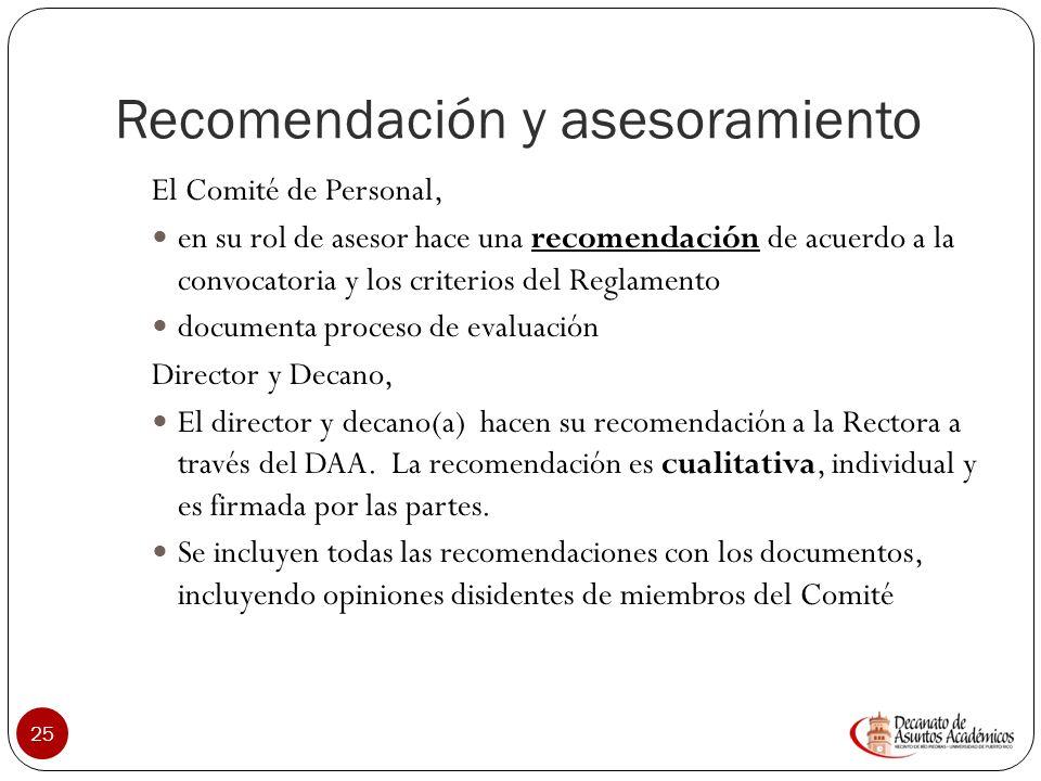 Recomendación y asesoramiento