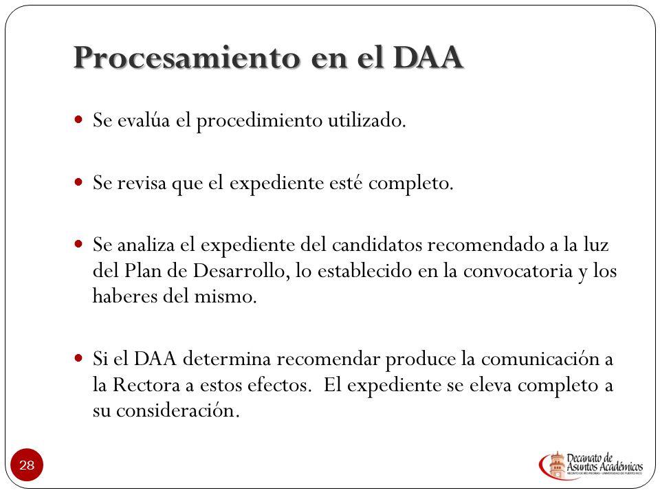 Procesamiento en el DAA