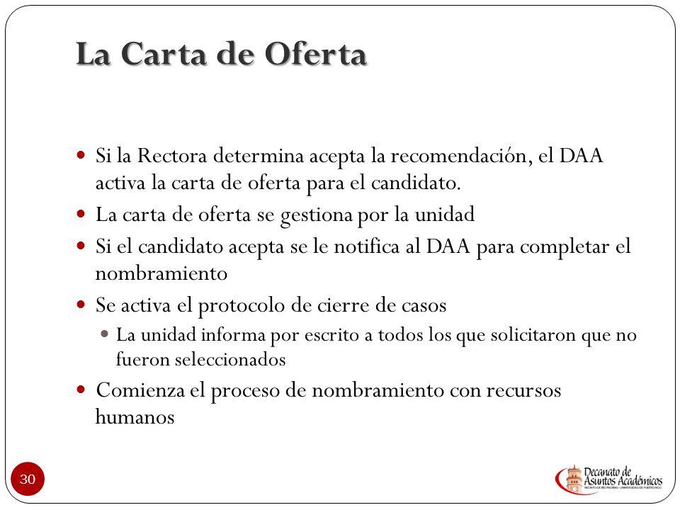 La Carta de Oferta Si la Rectora determina acepta la recomendación, el DAA activa la carta de oferta para el candidato.