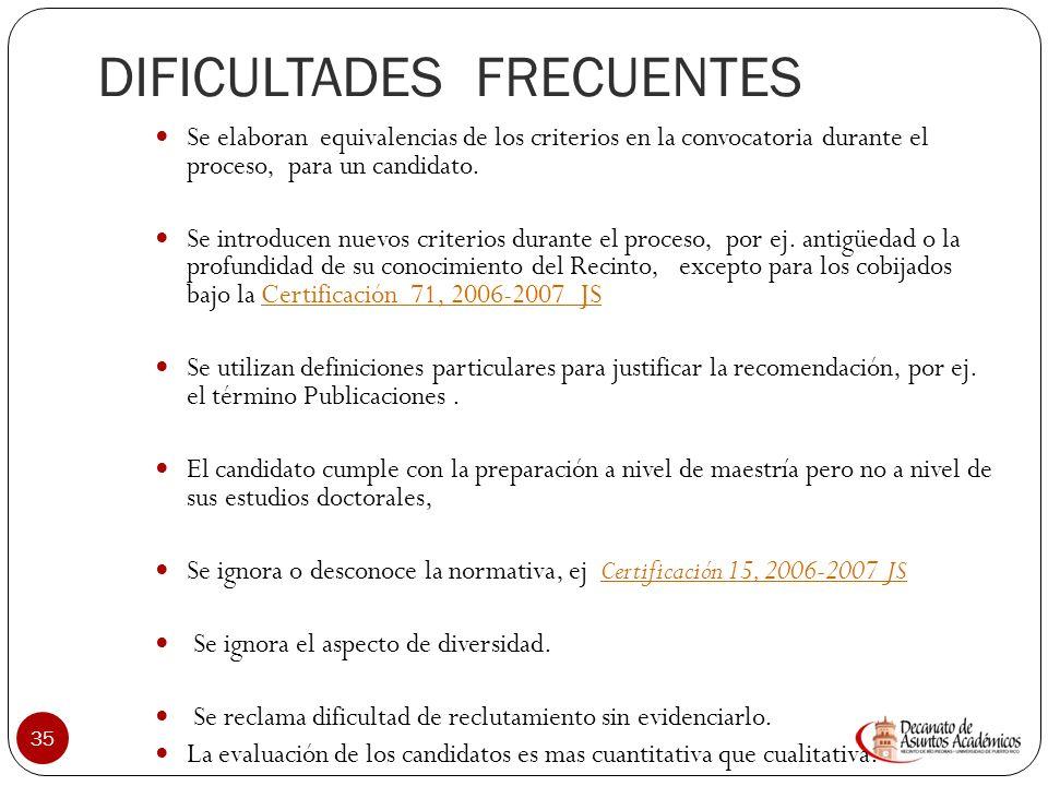 DIFICULTADES FRECUENTES