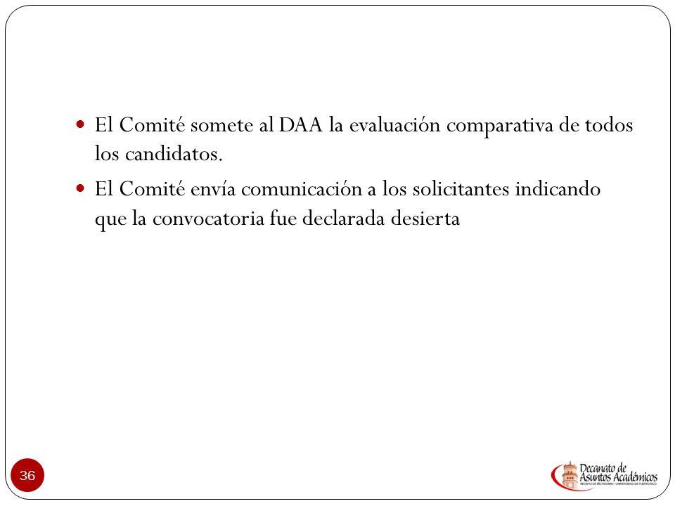 El Comité somete al DAA la evaluación comparativa de todos los candidatos.
