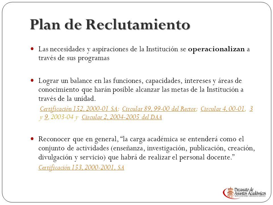 Plan de Reclutamiento Las necesidades y aspiraciones de la Institución se operacionalizan a través de sus programas.