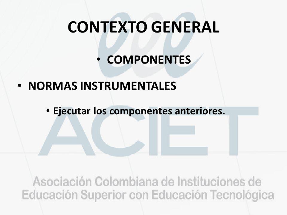 CONTEXTO GENERAL COMPONENTES NORMAS INSTRUMENTALES