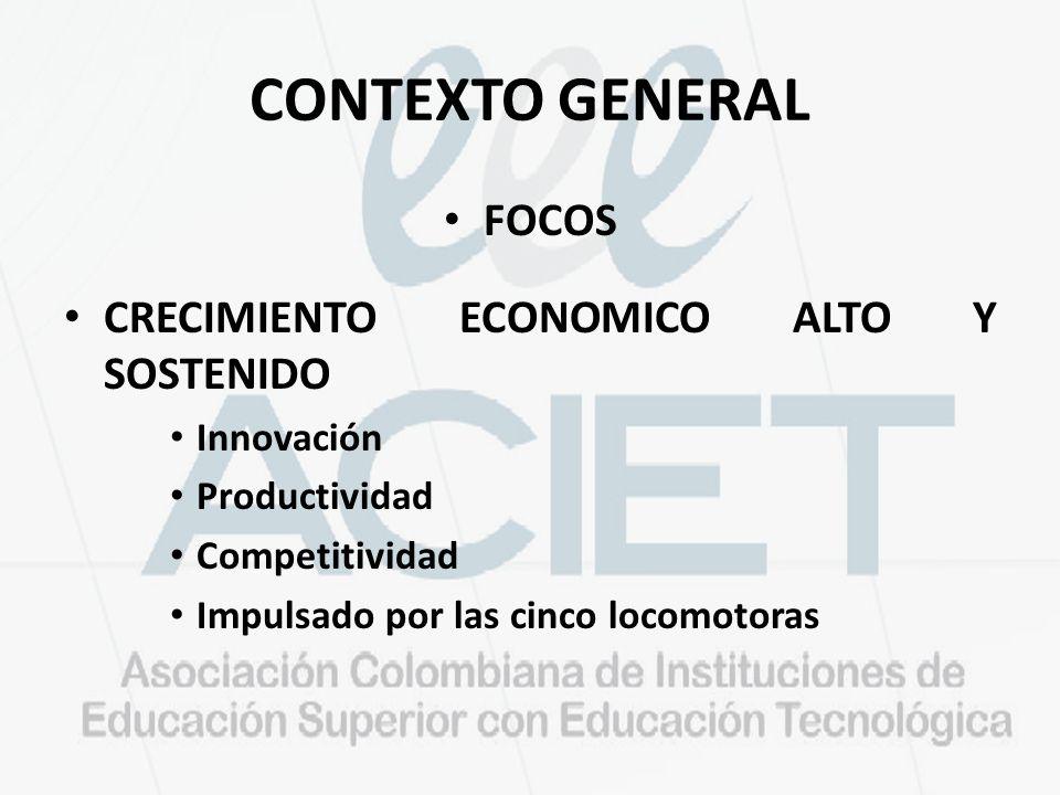 CONTEXTO GENERAL FOCOS CRECIMIENTO ECONOMICO ALTO Y SOSTENIDO