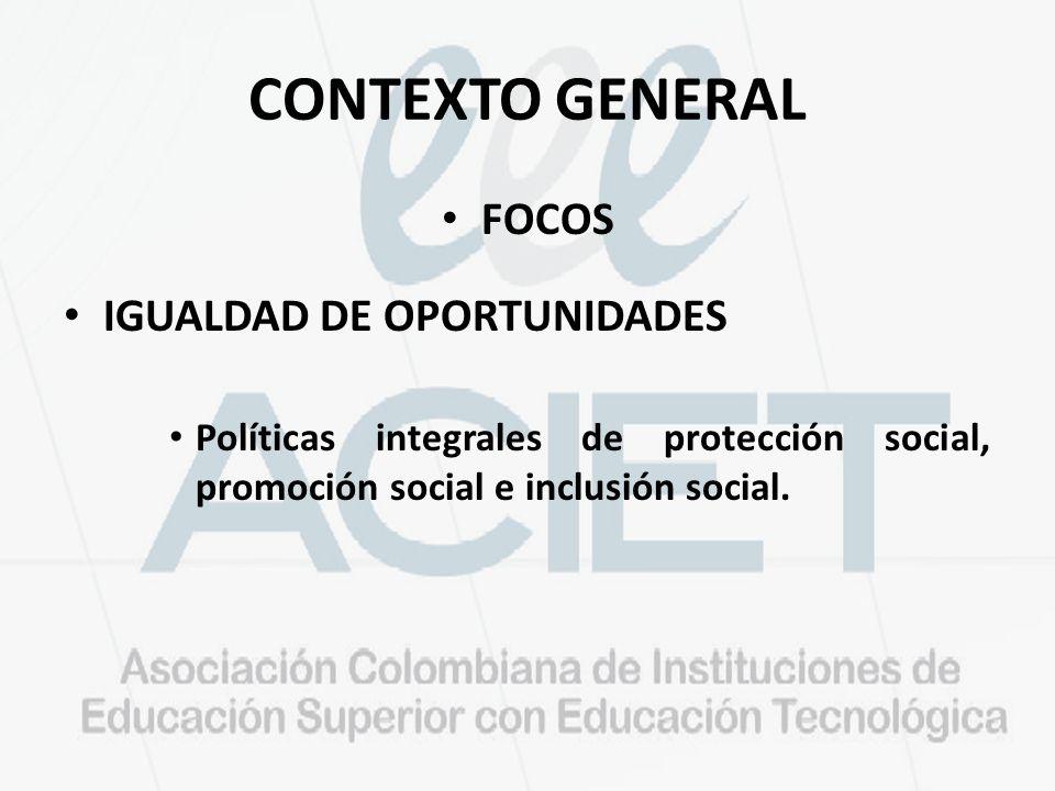CONTEXTO GENERAL FOCOS IGUALDAD DE OPORTUNIDADES