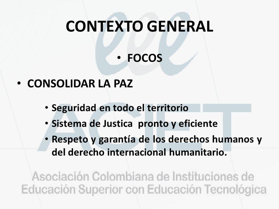 CONTEXTO GENERAL FOCOS CONSOLIDAR LA PAZ