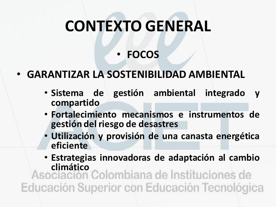 CONTEXTO GENERAL FOCOS GARANTIZAR LA SOSTENIBILIDAD AMBIENTAL