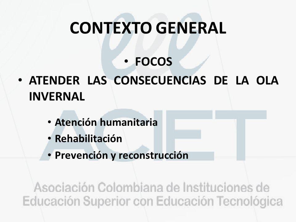 CONTEXTO GENERAL FOCOS ATENDER LAS CONSECUENCIAS DE LA OLA INVERNAL