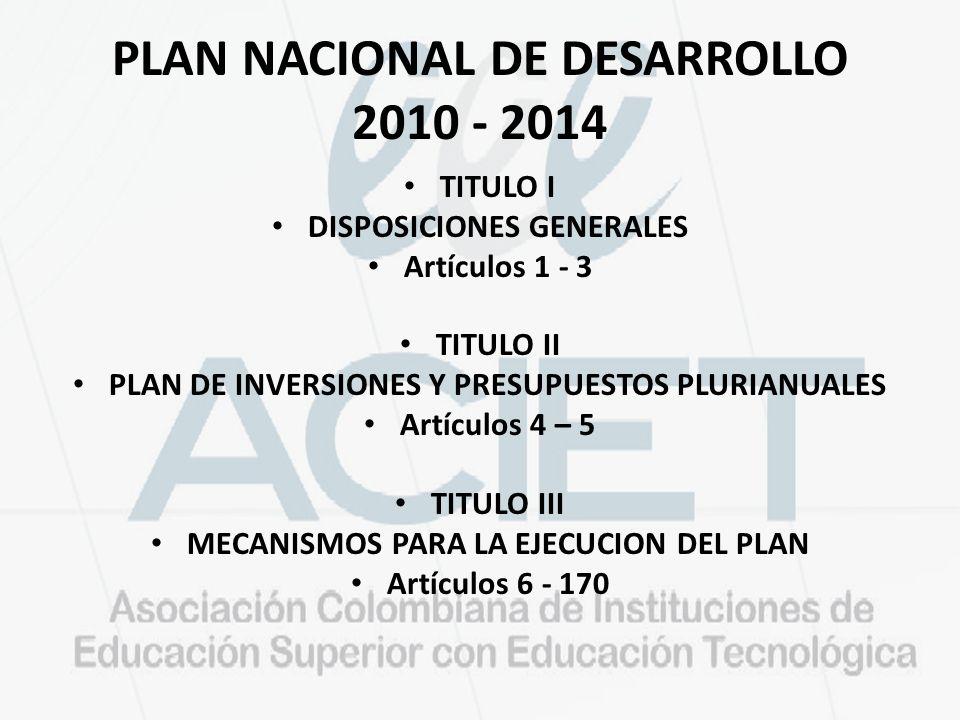 PLAN NACIONAL DE DESARROLLO 2010 - 2014
