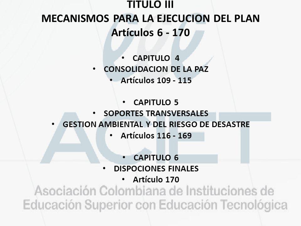 TITULO III MECANISMOS PARA LA EJECUCION DEL PLAN Artículos 6 - 170