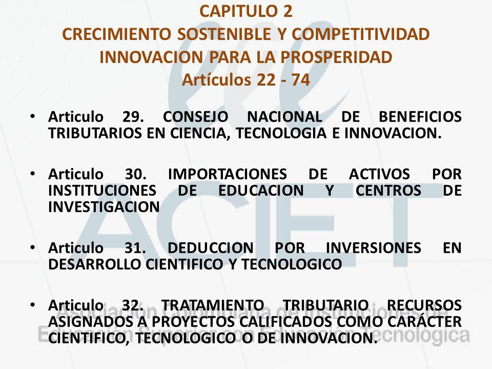 CAPITULO 2 CRECIMIENTO SOSTENIBLE Y COMPETITIVIDAD INNOVACION PARA LA PROSPERIDAD Artículos 22 - 74