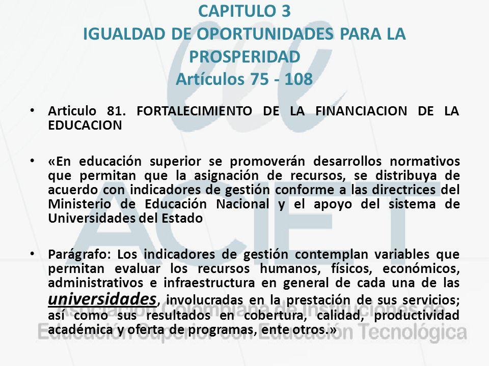 CAPITULO 3 IGUALDAD DE OPORTUNIDADES PARA LA PROSPERIDAD Artículos 75 - 108