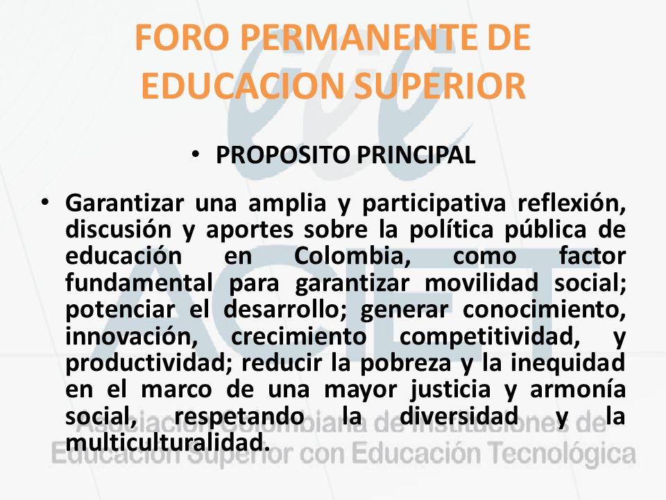 FORO PERMANENTE DE EDUCACION SUPERIOR