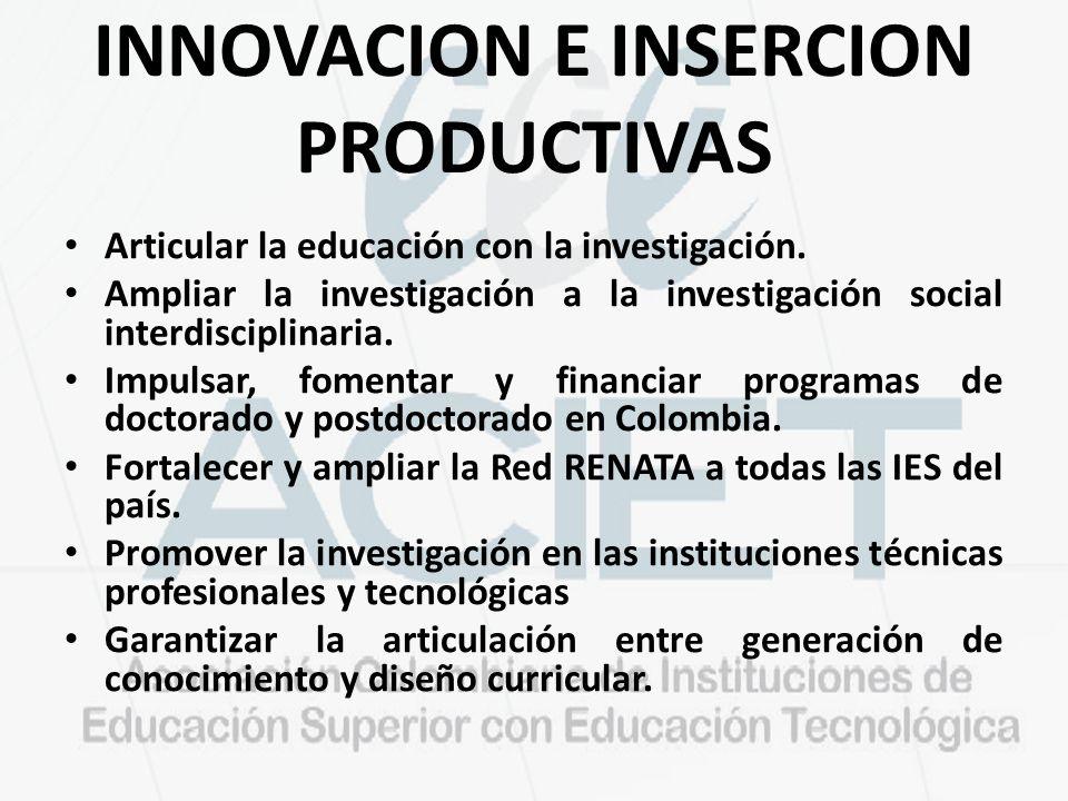 INNOVACION E INSERCION PRODUCTIVAS
