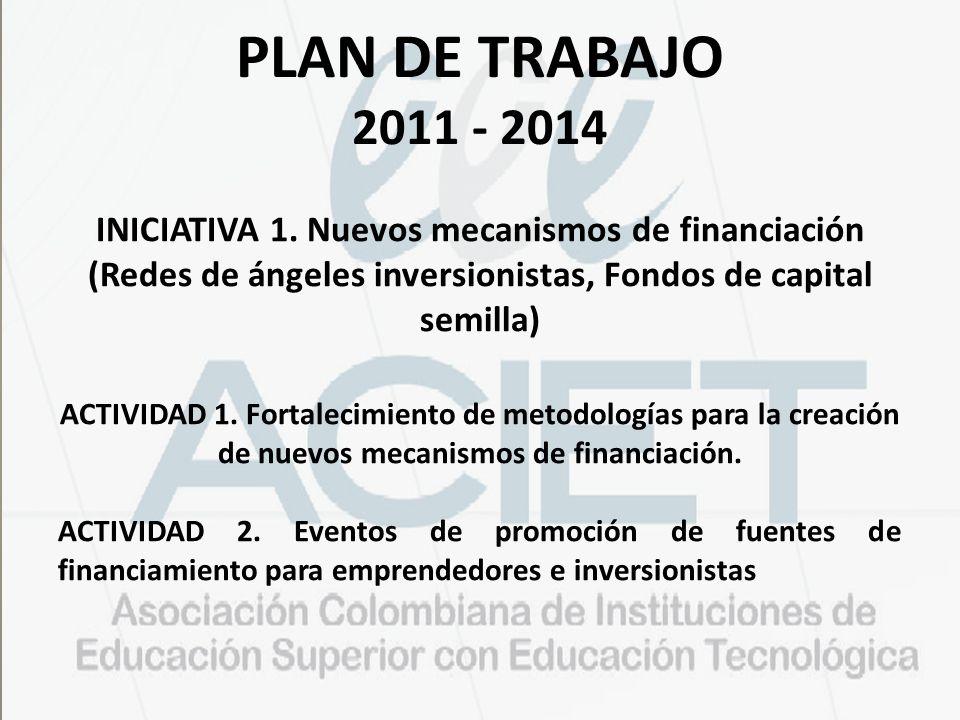 PLAN DE TRABAJO 2011 - 2014 INICIATIVA 1. Nuevos mecanismos de financiación (Redes de ángeles inversionistas, Fondos de capital semilla)