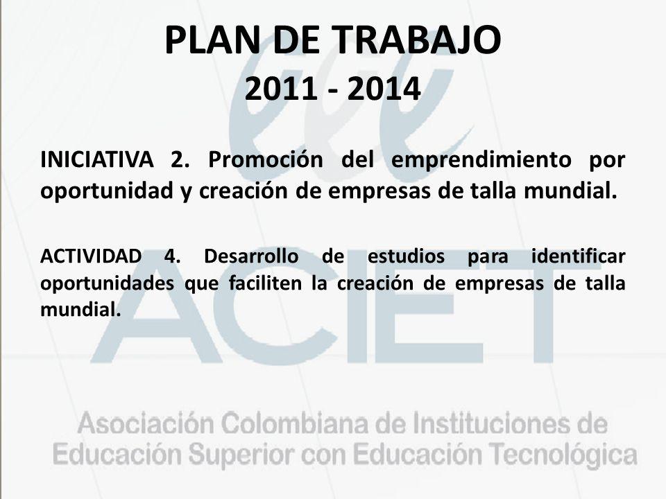 PLAN DE TRABAJO 2011 - 2014 INICIATIVA 2. Promoción del emprendimiento por oportunidad y creación de empresas de talla mundial.